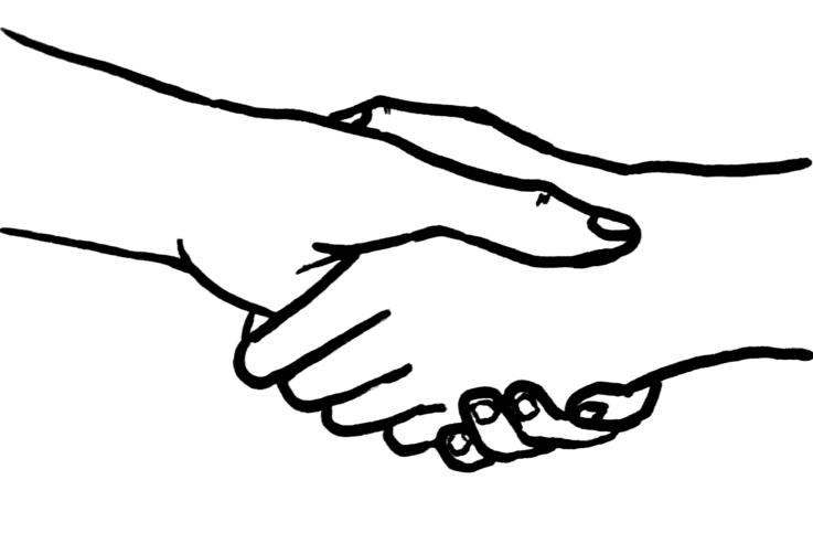 Hands shaking in trust